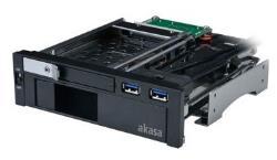 Akasa 5,25 collas Laufwerksrahmen for 1x 3,5+1x 2,5 Zoll, inkl. 2x USB 3.0 SATA cietā diska korpuss