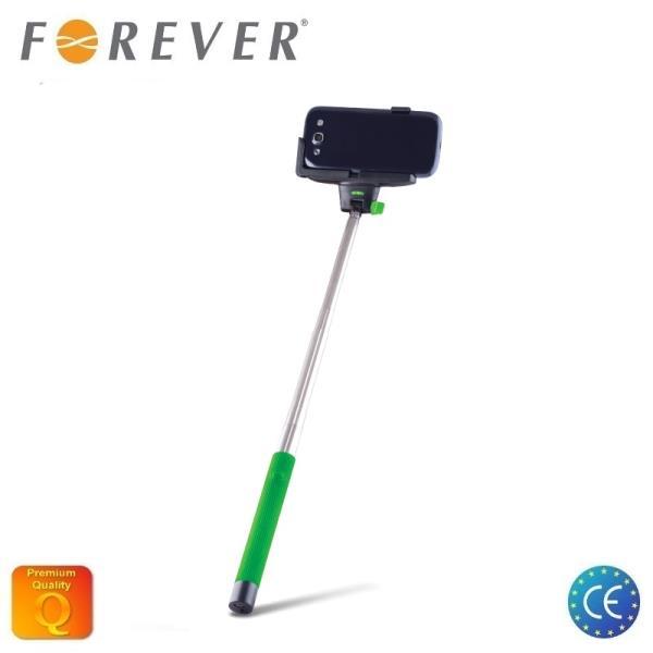 Forever MP-100 Bluetooth Selfie Stick 100cm - Univers la stiprinājuma statīvs ar iebūvētu Pulti Zaļš