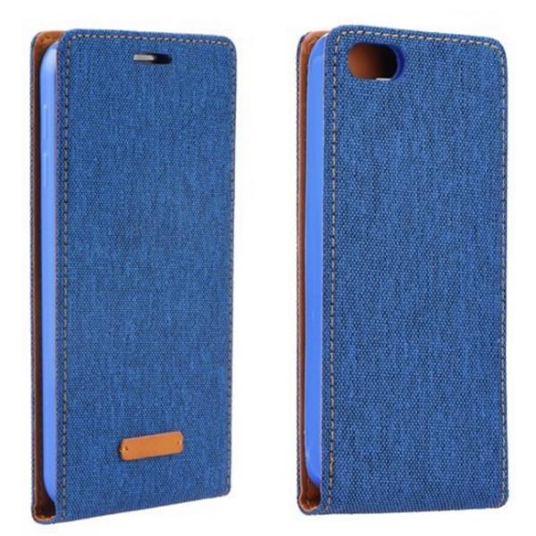 Forcell Canvas Flexi vetik li atverams maks grāmata Samsung G925F Galaxy S6 Edge Zils