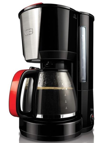 C3 30-10614 Kafijas automāts , 10 tasītēm. krāsa - melna ar sarkaniem akcentiem, tilpums 1,25 L, jauda 1000W, lieljaudas elements Kafijas automāts