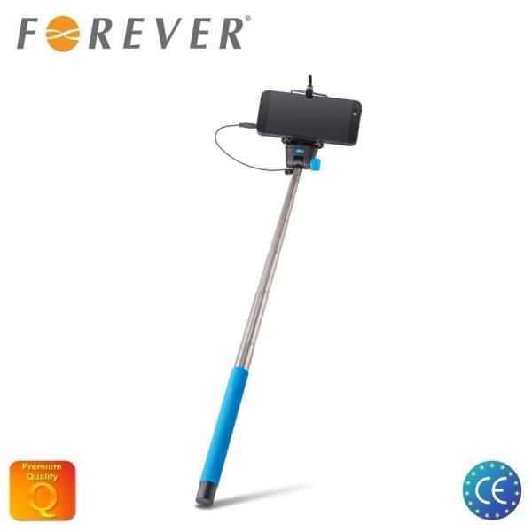 Forever MP-400 Bluetooth Selfie Stick 100cm - universāla stiprinājuma statīvs ar iebūvētu Pulti Zils