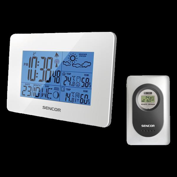 SENCOR bezvadu laika stacija LED SWS 50BWH/51WH balts barometrs, termometrs
