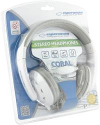 ESPERANZA Audio Stereo Headphones with volume control EH144W CORAL | 3m | White austiņas