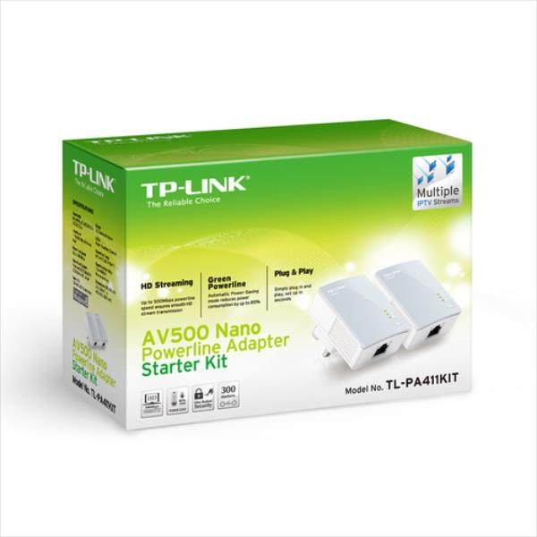 TP-Link AV500 Mini Powerline Adapter Starter Kit TL-PA411KIT POWERLINE adapteri