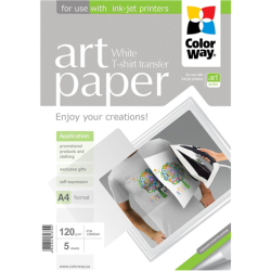 ColorWay ART Photo Paper T-shirt transfer (white), A4, 120 g/m2, 5 sheets foto papīrs
