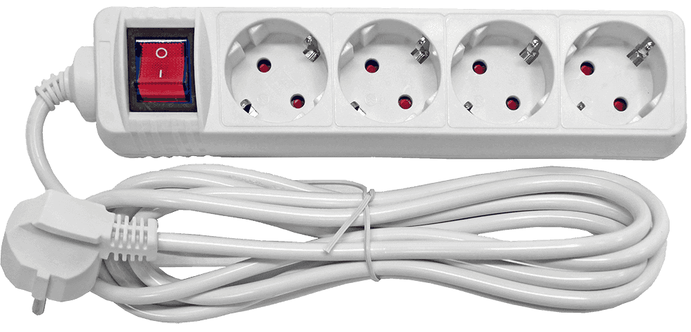 Besk pagarinātājs 4-vietīgs 3m a/z slēdzi pievadvads 3Gx1.0mm elektrības pagarinātājs