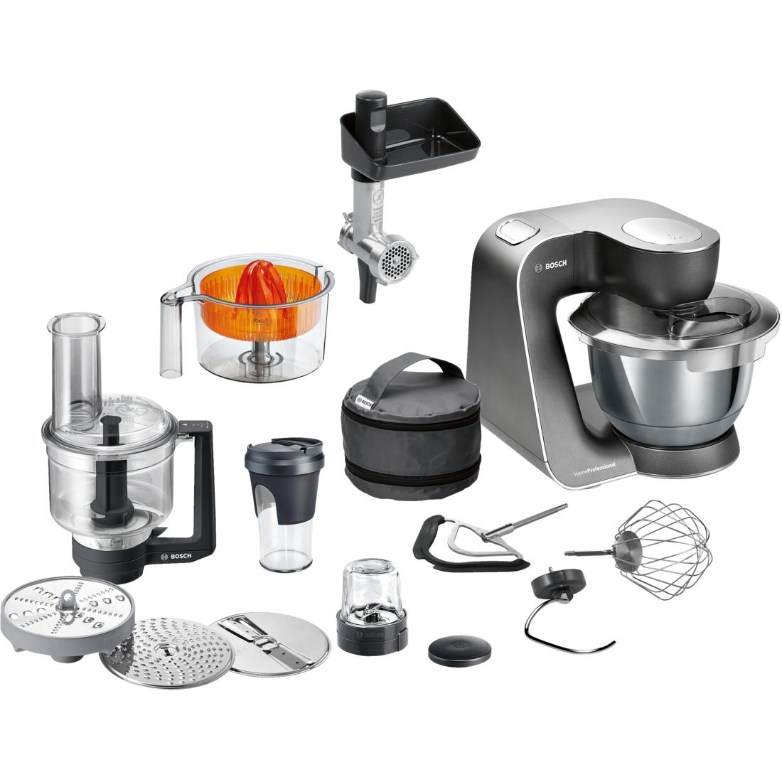 Bosch MUM59M55 Food processor, 1000W, Bowl capacity: 3.9L, Blender capacity: 0.5L, 7 speed settings, Mystic black Bosch Virtuves kombains