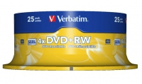 DVD+RW Verbatim [ 25pcs, 4.7GB, 4x, spindle ] matricas