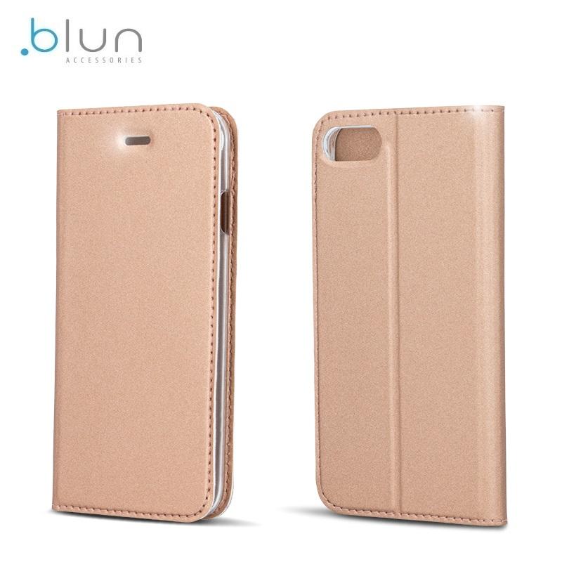 Blun Premium matēts eko  das Magnētiskas fiksācijas sāniski atverams maks ar stendu Samsung G950 Galaxy S8 Rozīgī Zeltains