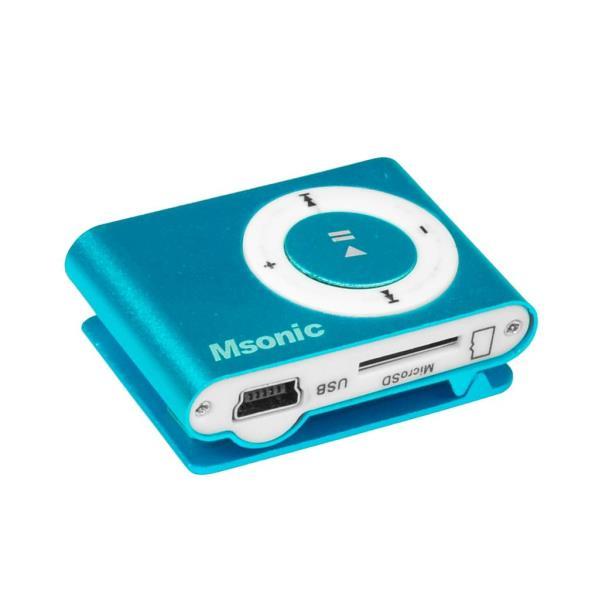 MSONIC MP3 Player with card reader, earphones, miniUSB cable, aluminum blue MP3 atskaņotājs