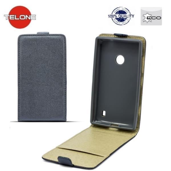 Telone Shine Pocket Slim Flip Case Samsung J500F Galaxy J5 telefona maks vertik li atverams Pelēks aksesuārs mobilajiem telefoniem