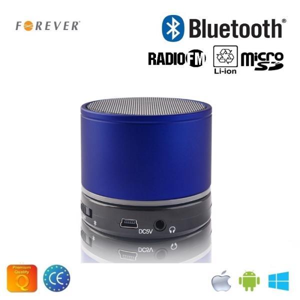 Forever BS-100 Bluetooth Bezvadu Skaļrunis ar Micro SD / Radio / Aux / Telefona Zvana Funkciju Zils pārnēsājamais skaļrunis