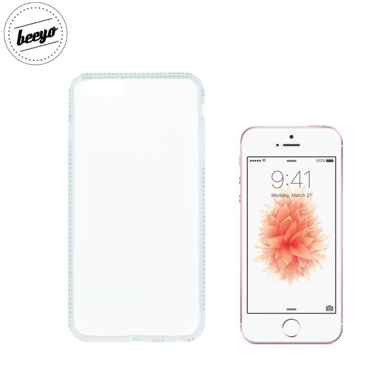 Beeyo Diamond frame super plāns silikona caurspīdīgs aizmugures maks-apvalks priekš Apple iPhone 5 / 5S / iPhone SE Balts
