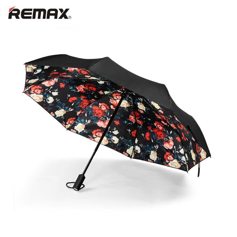 Remax RT-U3 Kompakts Automātisks Atveras-Aizveras Lietussargs ar Melnas krāsas  rpusi un rožu ziedu iekšpuses dizainu Lietussargs