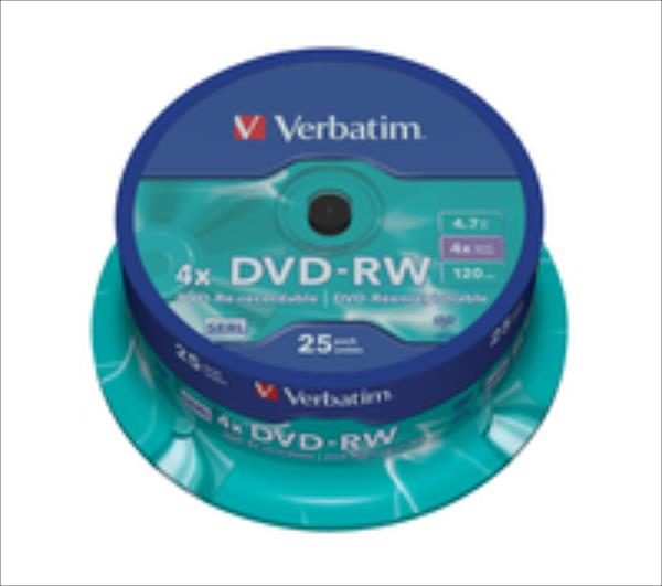 DVD-RW Verbatim [ spindle 25 | 4,7GB | 4x ] matricas
