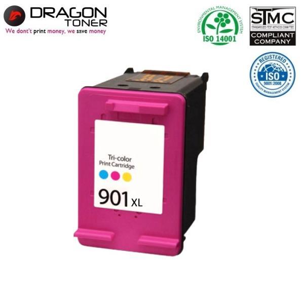 Dragon HP 901XL CC656AE 3-krāsu Tintes kārtridžs 21ml priekš OfficeJet J5440 4500 uc HQ Premium Analogs aksesuārs mobilajiem telefoniem