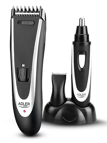 Adler AD 2822 Hair clipper + trimmer, 18 hair clipping lengths, Thinning out function, Stainless steel blades, Black Adler Matu fēns