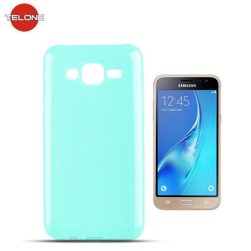 Telone Candy Super plāns 0.3mm Silikongēla Telefona Apvalks ar spīdumiem Samsung J320F Galaxy J3 (2016) Gaīši Zils aksesuārs mobilajiem telefoniem