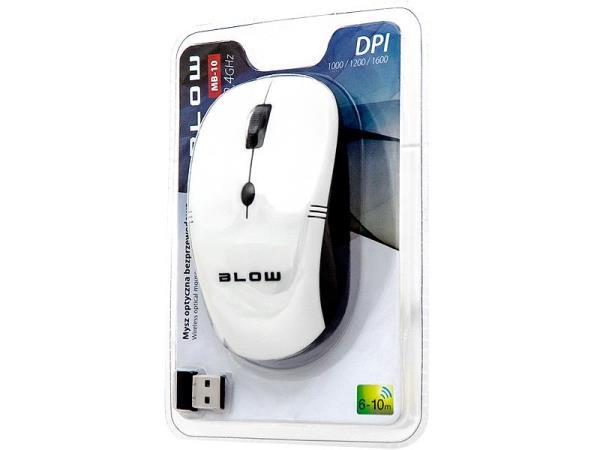 BLOW Optical Wireless Mouse MP-10 USB white Datora pele