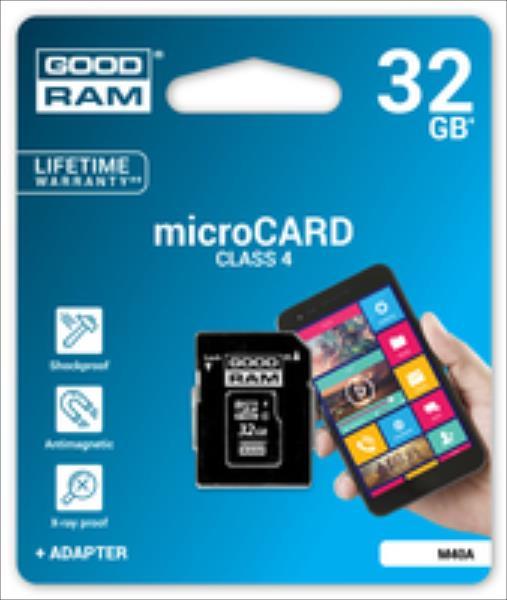 Goodram microSDHC  32GB CL4 + adapter atmiņas karte