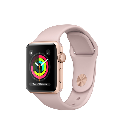 Apple Watch 3 GPS 38mm Gold Alu Case with Pink Sport Band Viedais pulkstenis, smartwatch
