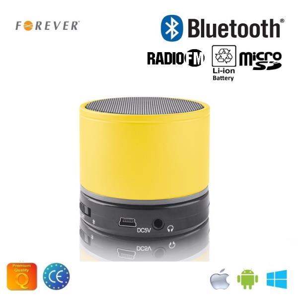 Forever BS-100 Bluetooth Bezvadu Skaļrunis ar Micro SD / Radio / Aux / Telefona Zvana Funkciju Dzeltens pārnēsājamais skaļrunis