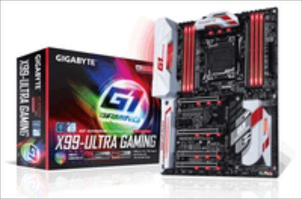 Gigabyte GA-X99-Ultra Gaming, X99, QuadDDR4-2133, SATAe, SATA3, M.2, RAID, ATX pamatplate, mātesplate