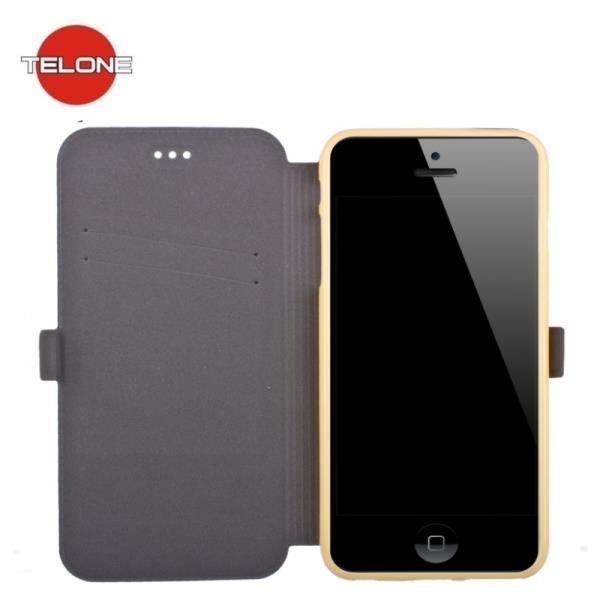 Telone Super plāns sāniski atverams maciņš ar stendu LG D855 Optimus G3 Zeltains aksesuārs mobilajiem telefoniem