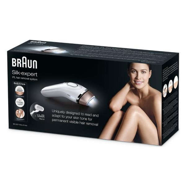Braun BD5001 Silk-expert Number of intensity levels 2, Bulb lifetime (flashes) 120000, Gold, White Epilators