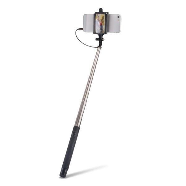 Forever MP-410 Selfie Stick 100cm - (50-84mm Fix) statīvs ar spoguli aizmugurējai kamerai un 3.5mm vada Shutter Pogu Melns Selfie Stick