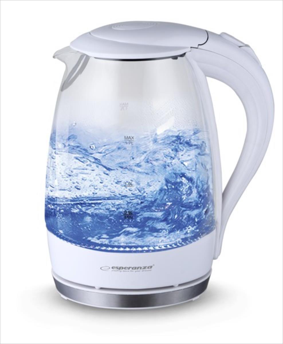 Esperanza EKK011W Electric Kettle glass SALTO ANGEL 1,7 L Elektriskā Tējkanna
