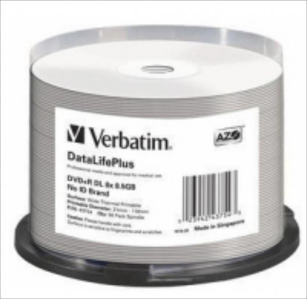 DVD+R DL Verbatim [ spindle 50   8,5GB   8x   WIDE THERMAL PRINTABLE ] matricas