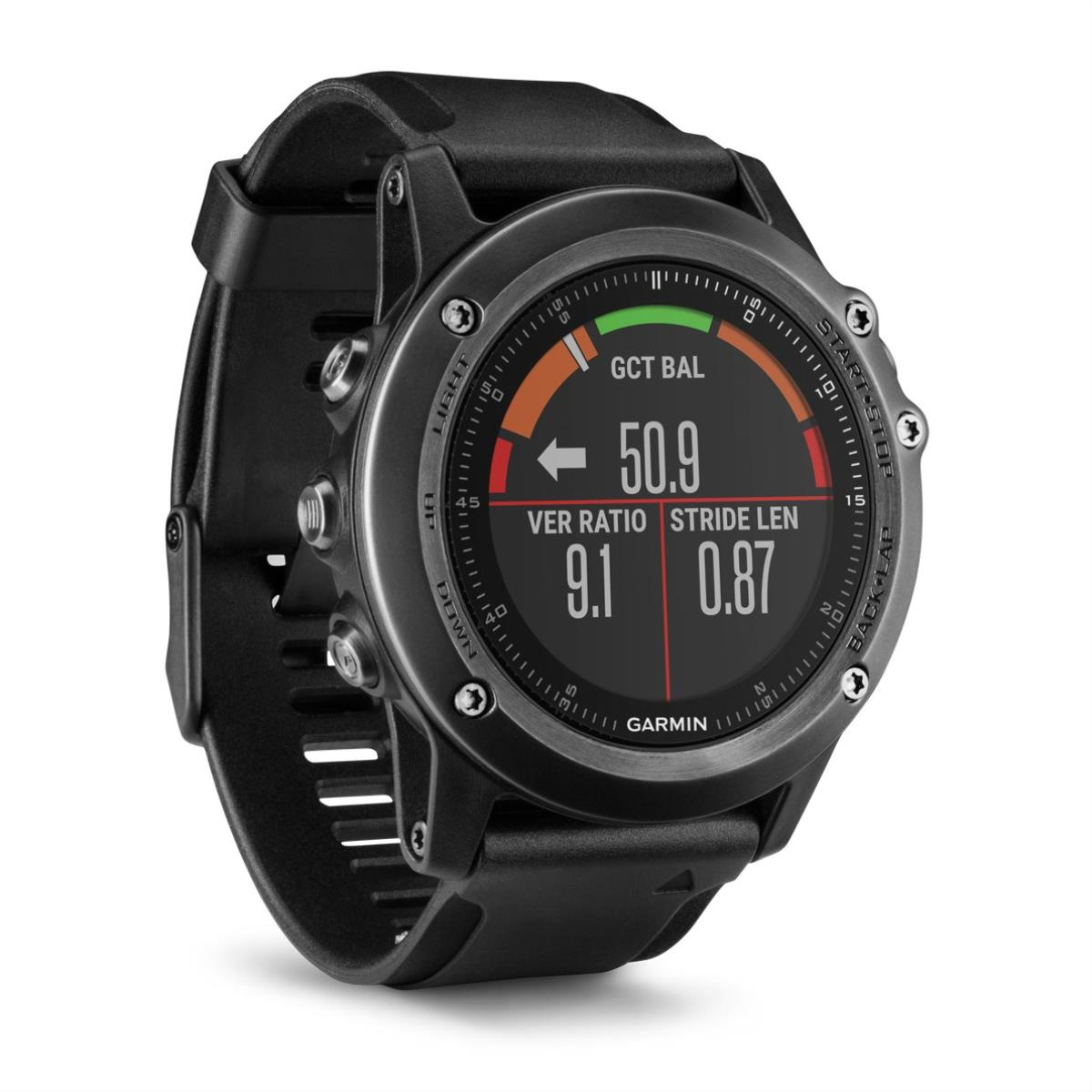 Garmin Fenix 3 Sapphire HR Performer with black silicone band sporta pulkstenis