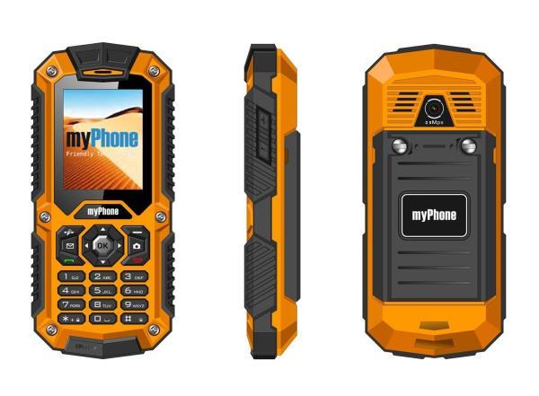 MyPhone HAMMER Dual Sim black/orange Mobilais Telefons