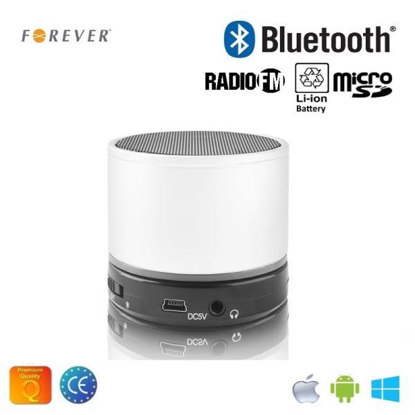 Forever BS-100 Bluetooth Bezvadu Skaļrunis ar Micro SD / Radio / Aux / Telefona Zvana Funkciju Balts pārnēsājamais skaļrunis