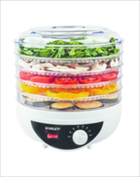 Scarlett SC-421R Food dehydrator, For fruit/vegetables/mushrooms/herbs/berries, 5 trays, 250W, Temperature control, White Augļu žāvētājs