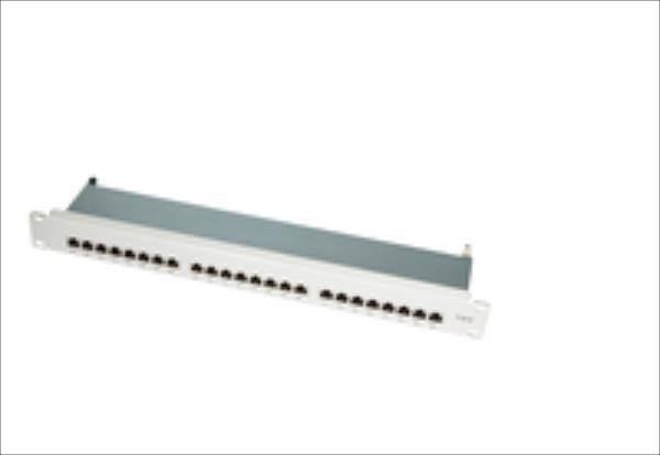 LOGILINK-  Patch Panel 19''-mounting Cat.6 STP 24 ports, grey datortīklu aksesuārs