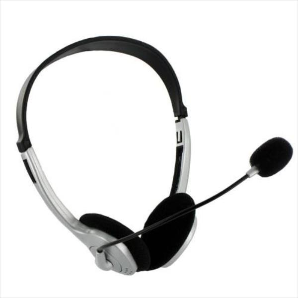 4World Headphones with Microphone silver volume control on cable austiņas
