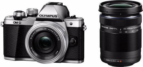Olympus E-M10 Mark II Korpus Srebrny + EZ-M1442 IIR srebrny +  EZ-M4015 R Melns Digitālā kamera