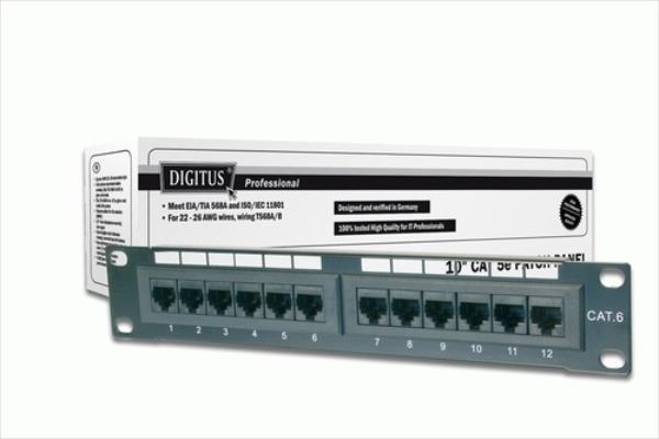DIGITUS CAT 5e, Class D Patch Panel, 12 port unshielded datortīklu aksesuārs