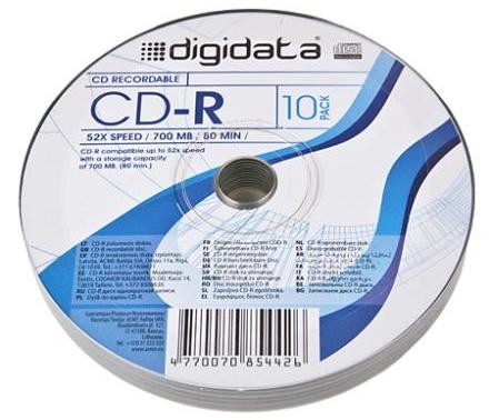 Digidata CD-R 80/700MB 52X 10pack shrink matricas