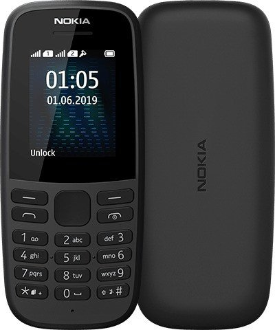 Nokia 105 - 1.77 - Dual SIM 2019 black 16KIGB01A08 Mobilais Telefons