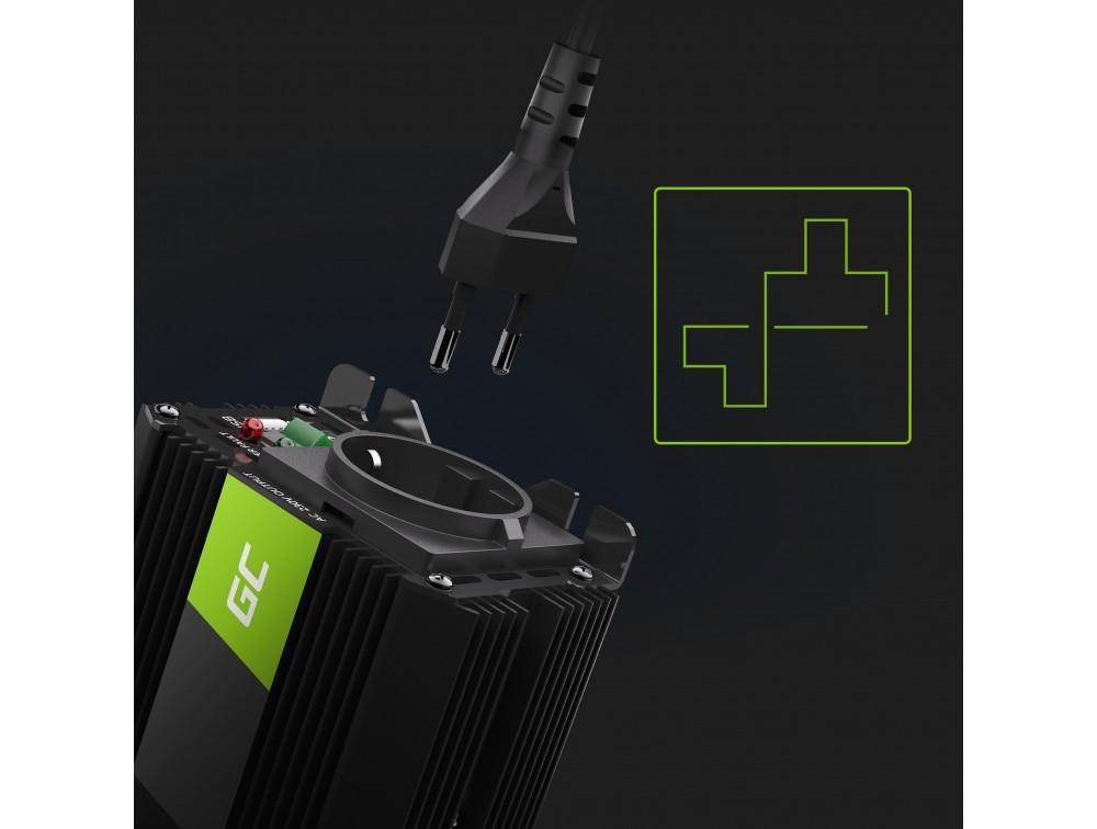 Green Cell Registered  Car Power Inverter Converter 12V to 230V 300W/600W with USB Strāvas pārveidotājs, Power Inverter