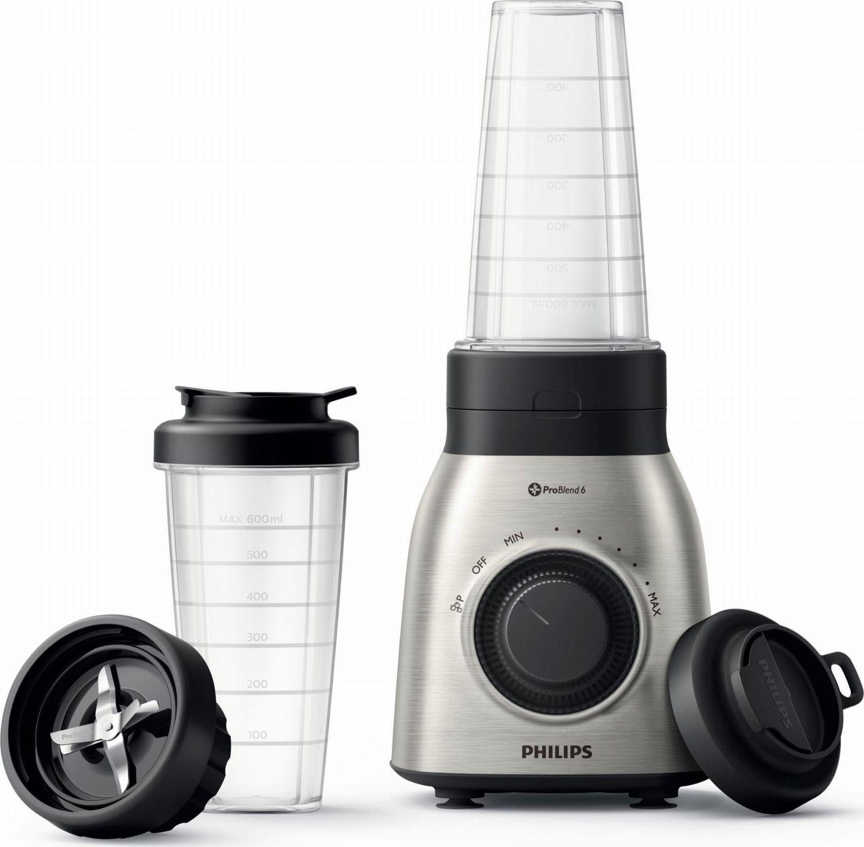 Philips Viva Collection HR3554/00 blender 0.6 L Tabletop blender Black, Silver 700 W Mikseris