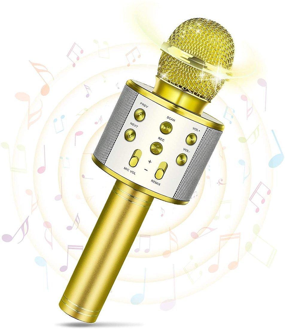 RoGer Bluetooth Karaoke Mikrofons Ar iebūvētu Skaļruni / 2x 5W / Aux / USB / MicroSD / Zelta Mikrofons