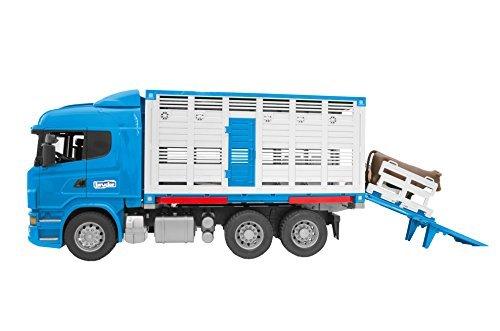 BRUDER Scania R-series animal transport truck, vehicle model with one beef 03549 Rotaļu auto un modeļi