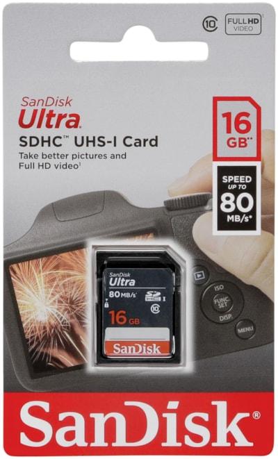 SANDISK Ultra 16GB SDHC Memory Card 80MB/s atmiņas karte