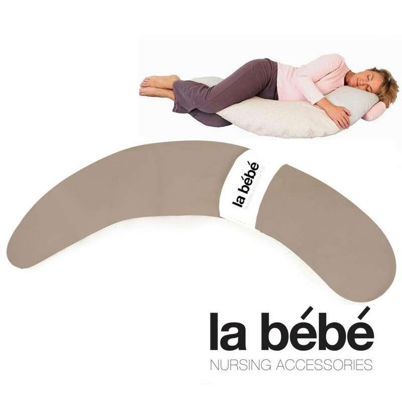 La Bebe™ Pregnancy PIllow Art.22072 Beige Satin Spilvens-pakavs grūtniecēm ar polistirola pildījumu [2 pārvalki] 185cm