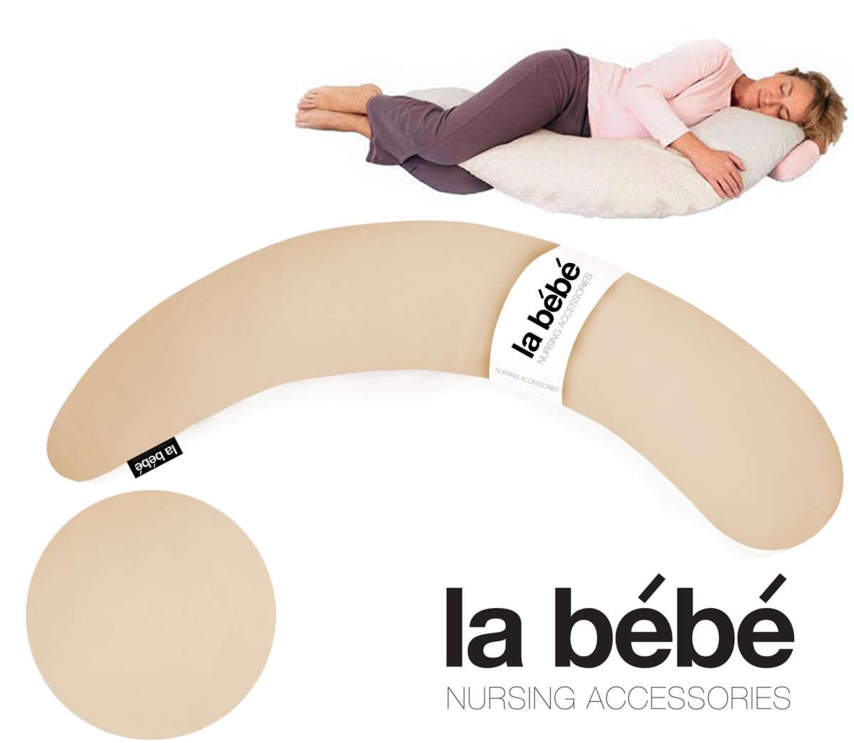 La Bebe™ Moon Maternity Pillow Art.52568 Light Beige spilvens grūtniecēm ar silikona sintepona (bumbiņsintepons) pildījums (īpaši mīksts un