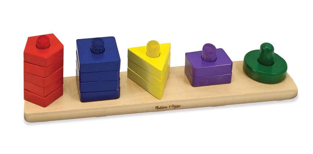 Melissa&Doug Sort Board   Art.10379  Attīstoša koka rotaļlieta 'Ģeometrijas figūras'